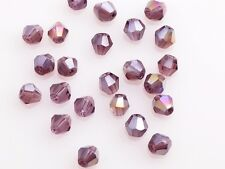 200pcs  3mm Bicone Faceted Crystal Glass Loose Spacer Beads Reddish Violet AB