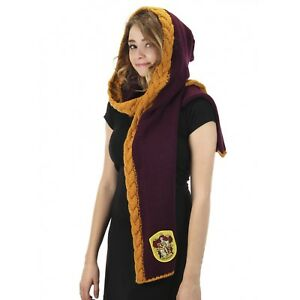 Womens Harry Potter Gryffindor House Knit Hooded Scarf Costume Hermione Gift