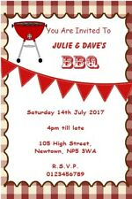 10 Personalised Barbecue Invitations / Thank You Cards