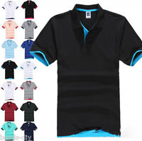 NEW Men's New Fashion Short Sleeve Polo Collar Work T-shirt Cotton Shirt Tops UK