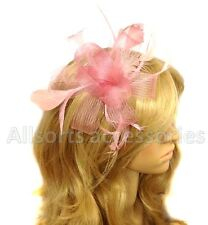 Pink Looped Comb Feather Fascinator Ladies Day Races Royal Ascot Hair Flower