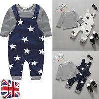 2PCS/Set Newborn Baby Boys Cotton Clothes T-shirt Tops+Long Bib Pants Outfits UK
