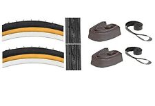 26x1 3/8 Tires Set + 2 Tubes 2 Rim Strips Gumwall Bicycle Combo Pack Ships Free