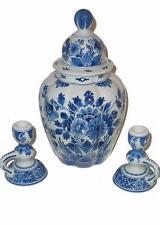 """Dutch Royal DELFT Porceleyne Fles 12"""" Vase + 2 Candle Holders EUC Value $650"""