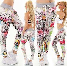 ITALY Donna Bermuda Shorts Pantaloni corti Capri Pantaloni lunghi cavallo basso SWEAT Jogpants fiori print