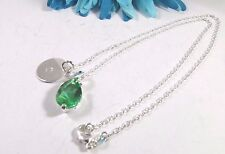 925 Sterling Silver Green Cubic Zirconia Personalized Initial Pendant