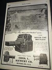 Kiewert Bottle Soaker Niagara Falls  Beer Ad 1908 Brewery Equipment Milwaukee