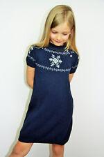 MONCLER Kinder Strickkleid Kleid Dunkelblau Wintermotiv mit Schneeflocken 74-116