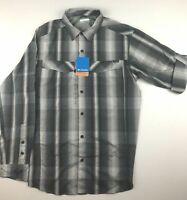 Columbia Silver Ridge Mens XL Black Plaid Roll Up Long Sleeve Shirt NWT $60