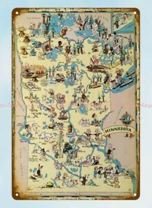Pictorial map of MINNESOTA state by Ruth Taylor 1935 metal tin sign outdoor wall