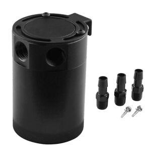 Black Aluminum Racing Baffled 3-Port Oil Catch Can/Tank/Air-Oil Separator Vivid