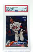 Ozzie Albies 2018 Topps Chrome White Jersey Rookie #72 RC PSA 10 Gem Mint Braves