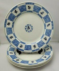 4x Churchill 24.5cm Dinner Plates - Floral Blue & White