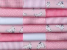 """Fabric patchwork squares 30 x 4"""" 10cms cotton quilting craft baby girl pink 8H"""