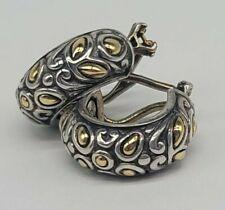 """0.75"""" John Hardy Sterling Silver 18k Yellow Gold Hoop Earrings FREE SHIPPING"""