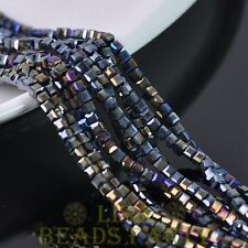 100pcs 3mm Cube Square Faceted Crystal Glass Loose Spacer Beads Black AB