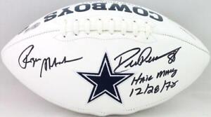 Roger Staubach/Drew Pearson Signed Cowboys Logo Football w/HM- Beckett W *Black