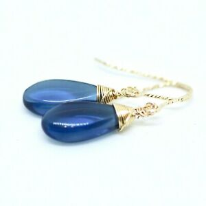 Wire Wrapped Lab Made London Blue Topaz Earrings 14k Yellow Gold Filled