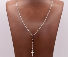 2.5mm Rosary Shiny Chain Necklace Real Solid Sterling Silver Italian 24""