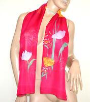 FOULARD donna FUCSIA sciarpa 40% seta sciarpetta velata fiori stola scarf G38