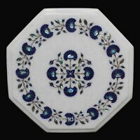 Lapis Lazuli Stone Inlaid Corner Table Top Floral Work Marble Coffee Table Top
