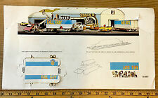 1982 Aurora AFX FALL GUY HO Slot Car Race Set CAMERA TRUCK CARDBOARD DISPLAY B+