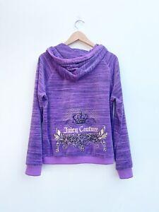 Juicy Couture Dewberry Purple Velour Crown Crest Hoodie Women's Size XL Y2K