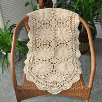 "Beige Vintage Lace Table Runner Hand Crochet Dresser Scarf Oval Doily 19""x39"""