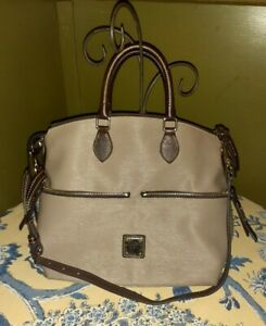 Dooney & Bourke Taupe Brown Large Leather Crossbody Tote Front Pocket Zippers