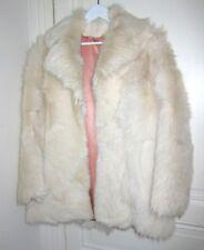 Real GOAT SKIN Cream White YETI Fur Boxy Coat Shearling Goatskin Fox 1970s Plush