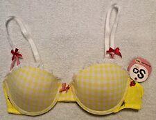So Intimates Bra 34A Yellow/White Checkered Strawberries Pushup Underwire NWT
