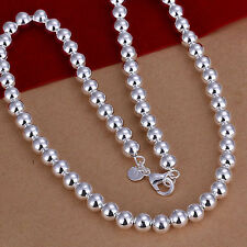 "Free Shipping Sterling 925 Solid Silver 8mm*20"" Hollow Beads Chain Necklace N111"