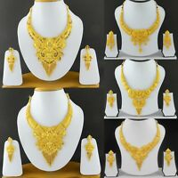 UK Indian Bollywood Jewelry Fashion Gold Plated Wedding Necklace Earrings Set