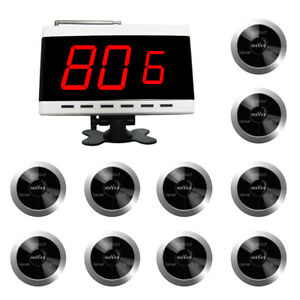 SINGCALL Wireless Calling System Cafe Table Bell 10 bells, 1 Receiver