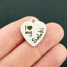 Dog Stainless Steel Charm - I love my Saluki - Bfs2675
