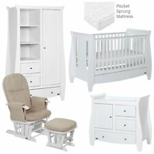 Tutti Bambini LUCAS 5 PIECE ROOM SET WHITE Baby Nursery Furniture BN