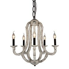 5-Light Vintage Wood Chandelier Distressed Rustic Metal Wooden Ceiling Pendant