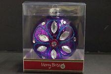 "4"" Shiny Brite Glass Christmas Ornament Ball HANDCRAFTED Purple"