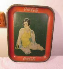 1929 COCA-COLA Serving Tray Girl in Yellow Bathing Suit RARE BOTTLE Version LOOK