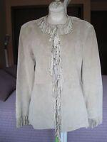 Pamela McCoy Women's Beige Suede Leather Fringe Jacket Size M