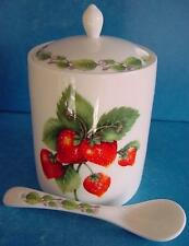 REDWOOD BONE CHINA STRAWBERRY DESIGN MARMALADE JAM PRESERVE JAR POT & SPOON 8538