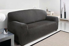 2 Seater Grey Easy Fit Stretch Elastic Fabric Chair Sofa Settee Slip Cover