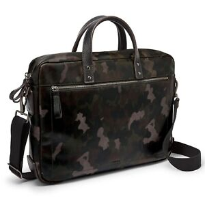 Fossil Haskell Double Zip Leather Workbag Laptop Utility Brief Grey Camouflage
