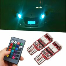 2Pcs T10 W5W LED RGB Interior Wedge Side Reading Indicator Light Remote Control