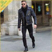 New Men's Genuine Lambskin Leather Jacket Black Slim fit Bomber Biker jacket