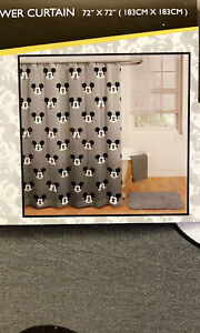 """Disney Mickey Mouse Icons Gray Fabric Shower Curtain  72"""" x 72"""" New"""