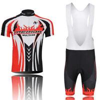 Merida Red Fire Mens Cycling Jersey and (Bib) Shorts Kit Bike Clothing Set S-5XL