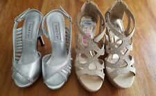 New Lot of 2 Women's Dress Prom Wedding Sandals (Touch Ups & Sbicca) Sz 5 & 5.5
