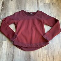 The North Face Small Sweatshirt Top Burgundy Recover Up Crewneck Quilted Womens