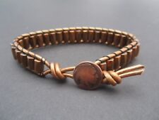 Mens Magnetic Bronze Leather Copper Magnetic Bracelet  Indian button Handmade